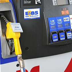 Flex fuel vehicles can use regular unleaded, e10, e85 or any combination of ethanol and regular gas, including the e20 and e30 blends that are growing more common at stations that have installed ethanol blender pumps like these.
