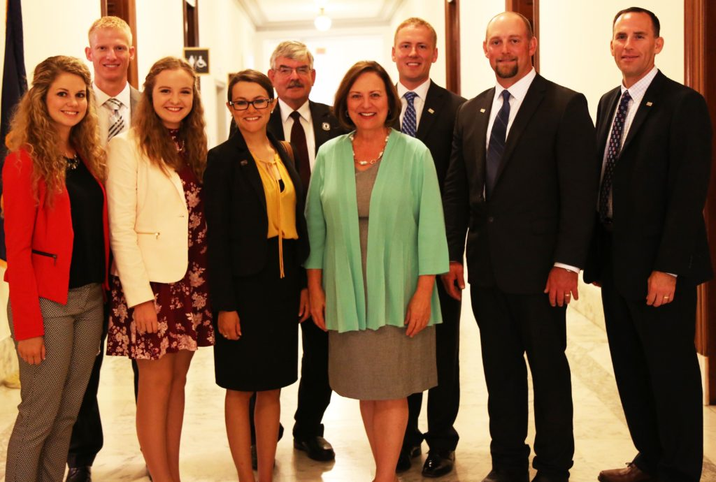 Sen. Deb Fischer poses with a delegation of Nebraskans attending the National Corn Growers Association's annual Corn Congress in July 2017.