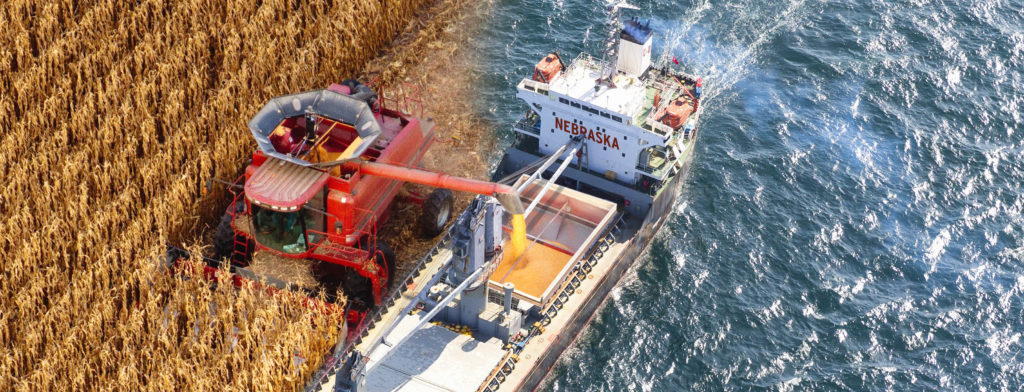 Graphic of a combine harvesting corn directly into a barge to illustrate the global demand of Nebraska's ag commodities.