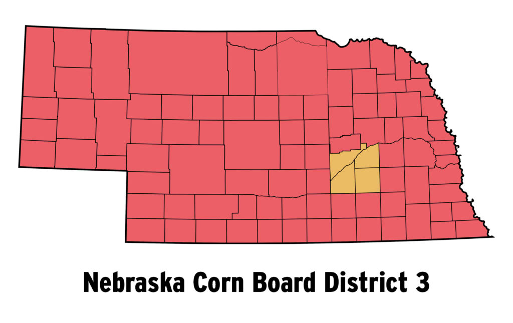 Map of Nebraska Corn Board's District 3 Region