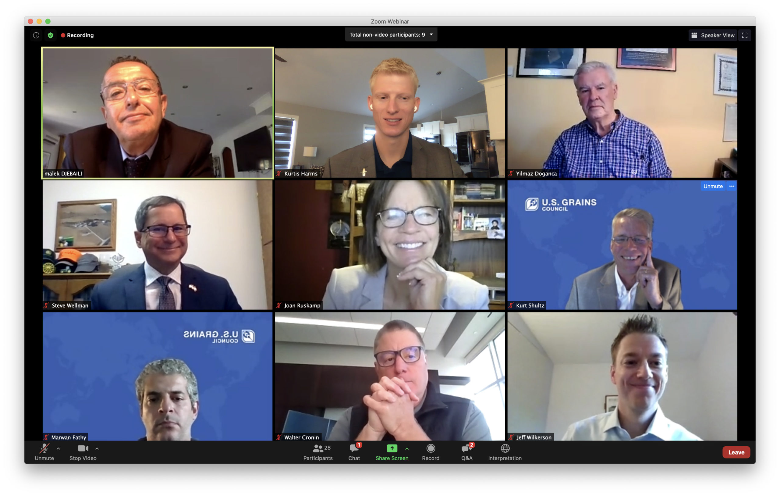 Zoom Session with North Africa, Israel and Turkey trade teams.